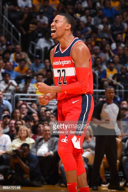 Otto Porter Jr #22 of the Washington Wizards reacts during the game against the Los Angeles Lakers on October 25 2017 at STAPLES Center in Los...