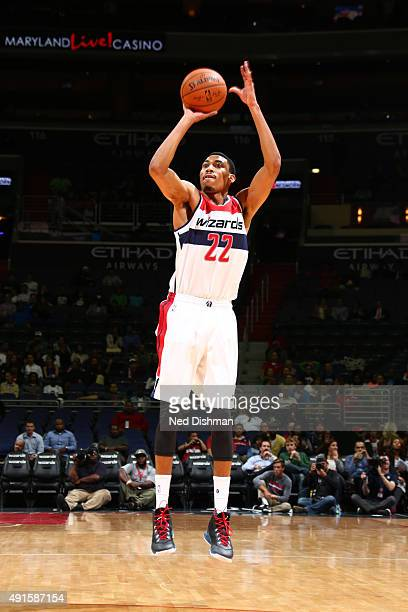 Otto Porter Jr #22 of the Washington Wizards shoots against the Philadelphia 76ers during a preseason game on October 6 2015 at Verizon Center in...