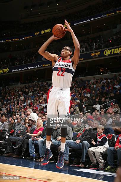 Otto Porter Jr #22 of the Washington Wizards shoots the ball against the Dallas Mavericks during the game on November 19 2014 at Verizon Center in...