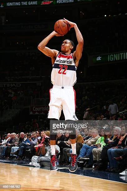 Otto Porter Jr #22 of the Washington Wizards shoots the ball against the New York Knicks during the game on October 31 2015 at Verizon Center in...