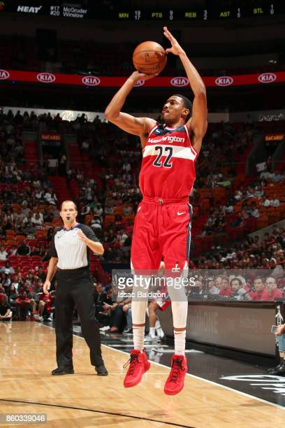 Otto Porter Jr #22 of the Washington Wizards shoots the ball during a preseason game against the Miami Heat at the American Airlines Arena on October...