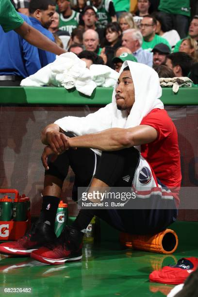 Otto Porter Jr #22 of the Washington Wizards sits and waits to get in Game Five of the Eastern Conference Semifinals against the Boston Celtics...