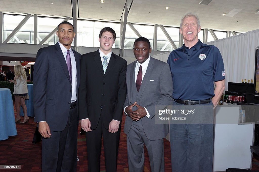 Otto Porter Jr, Doug McDermott, Victor Oladipo and former NBA player Bill Walton attend the 2013 Naismith Trophy at the NABC Guardians of the Game Awarding of the Naismith Trophy Presented by AT&T at Georgia World Congress Center on April 7, 2013 in Atlanta, Georgia.