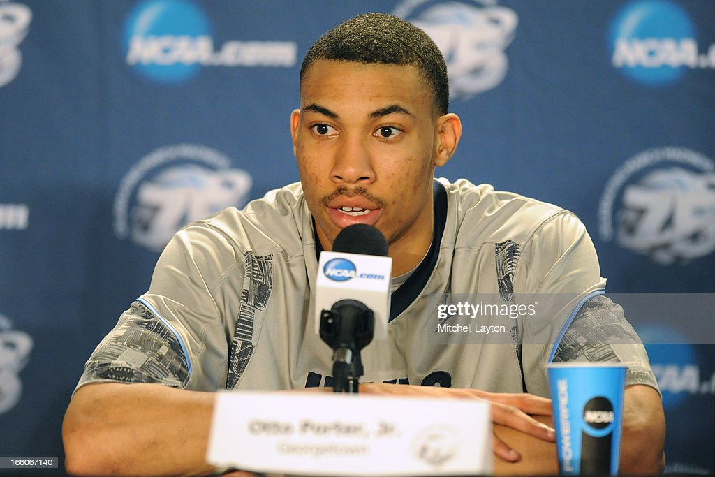 Otto Porter Jr. of the Georgetown Hoyas address the media after the second round of the 2013 NCAA Men's Basketball Tournament game against the Florida Gulf Coast Eagles on March 22, 2013 at Wells Fargo Center in Philadelphia, Pennsylvania. The Eagles won 78-68.