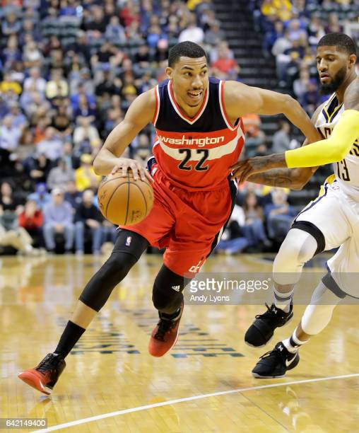 Otto Porter Jr of the Washington Wizards dribbles the ball against the Indiana Pacers during the game at Bankers Life Fieldhouse on February 16 2017...