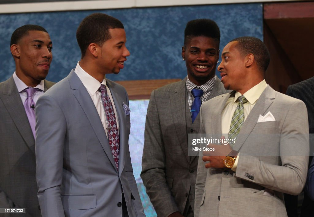 Otto Porter of Georgetown, Michael Carter-Williams of Syracuse, Nerlens Noel of Kentucky and C.J. McCollum of Lehigh share a laugh on stage prior to the start of the 2013 NBA Draft at Barclays Center on June 27, 2013 in in the Brooklyn Bourough of New York City.