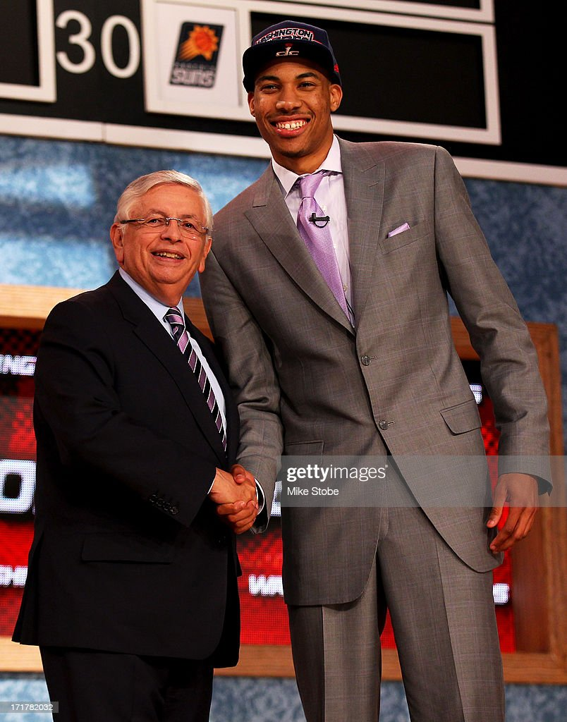 Otto Porter (R) of Georgetown poses for a photo with NBA Commissioner David Stern after Porter was drafted #3 overall in the first round by the Washington Wizards during the 2013 NBA Draft at Barclays Center on June 27, 2013 in in the Brooklyn Borough of New York City.
