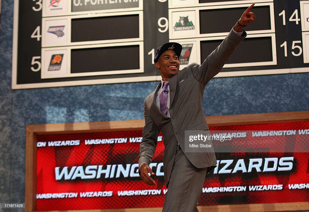 Otto Porter of Georgetown reacts after he was drafted #3 overall in the first round by the Washington Wizards during the 2013 NBA Draft at Barclays Center on June 27, 2013 in in the Brooklyn Bourough of New York City.