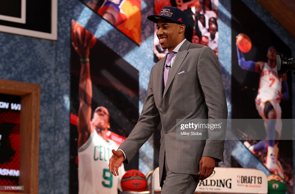 Otto Porter of Georgetown reacts as he wals on stage after he was drafted #3 overall in the first round by the Washington Wizards during the 2013 NBA Draft at Barclays Center on June 27, 2013 in in the Brooklyn Borough of New York City.