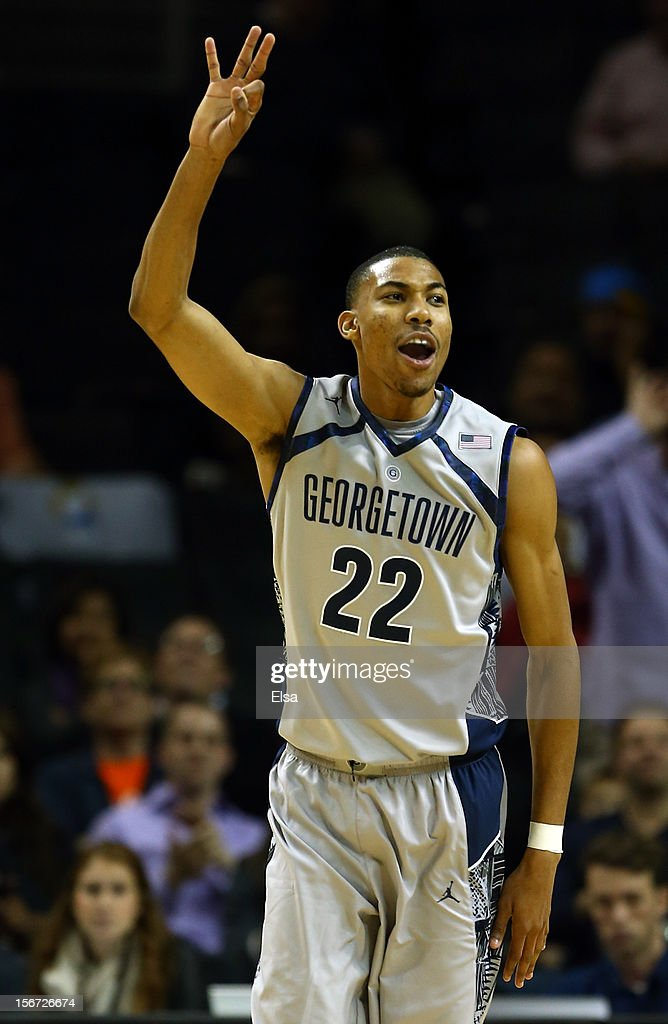 Otto Porter #22 of the Georgetown Hoyas celebrates his three point shot in the second half against the UCLA Bruins during the Legends Classic on November 19, 2012 at the Barclays Center in the Brooklyn borough of New York City. The Georgetown Hoyas defeated the UCLA Bruins 78-70.