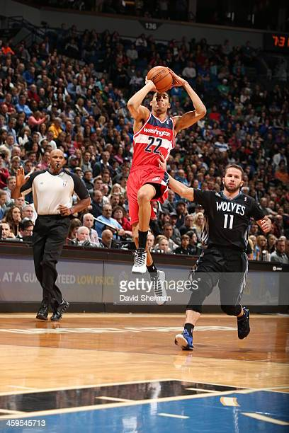 Otto Porter of the Washington Wizards shoots the ball against the Minnesota Timberwolves during the game on December 27 2013 at Target Center in...
