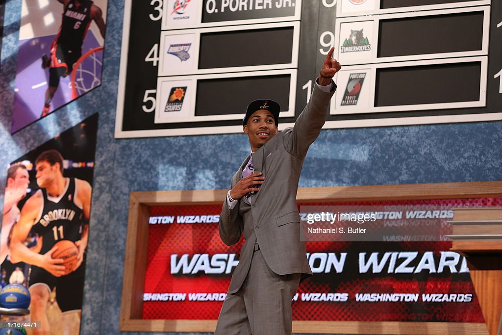 Otto Porter waves to the crowd after being selected number three overall by the Washington Wizards during the 2013 NBA Draft on June 27, 2013 at Barclays Center in Brooklyn, New York.