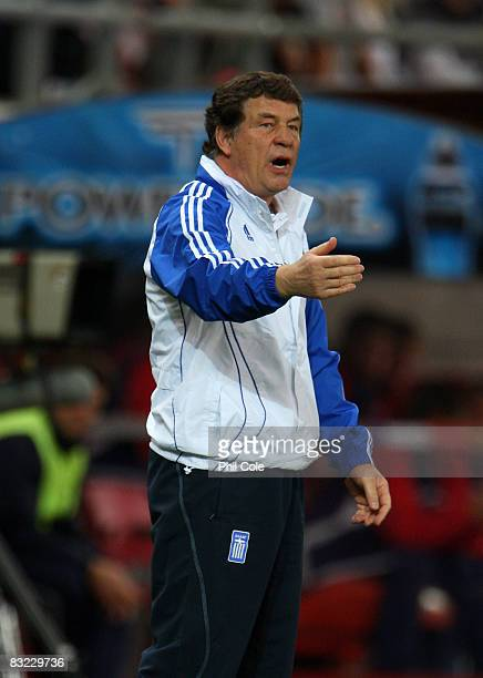 Otto Rehhagel Manager of Greece gestures during the Group Two FIFA World Cup 2010 qualifying match between Greece and Moldova held at the Georgios...