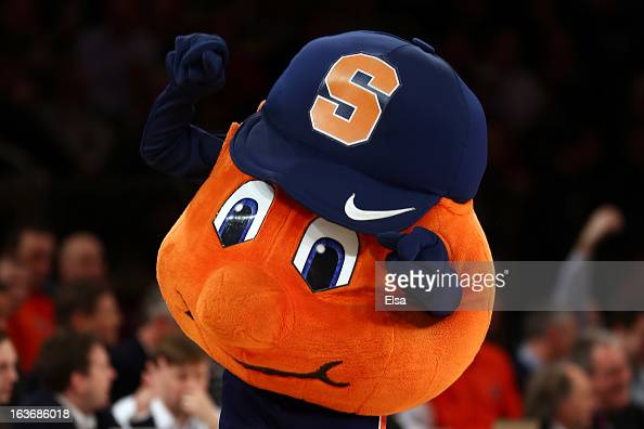 Otto the mascot for the Syracuse Orange performs against the Pittsburgh Panthers during the quaterfinals of the Big East Men's Basketball Tournament...