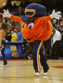 Otto the Orange the Syracuse Orangemen mascot performs during the game against the Pittsburgh Panthers on January 24 2004 at the Carrier Dome in...