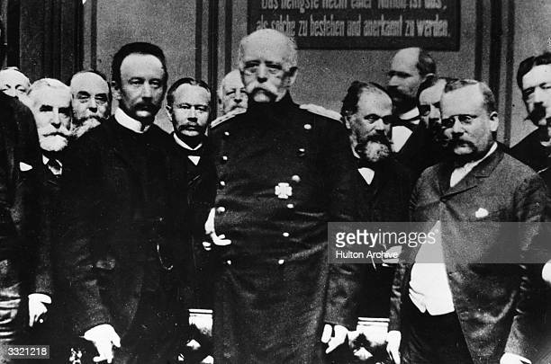 Otto von Bismarck Chancellor of the German Empire in the Reichstag with his deputies On his left is Count Lerchenfeld and on his right Freiherr von...