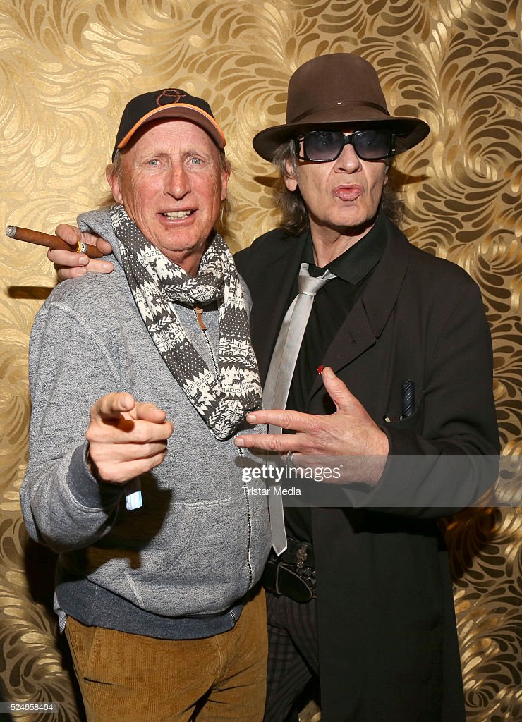 Otto Waalkes and Udo Lindenberg attend the 'Sonderbus nach Hamburg' Film Preview At Passage Kino on April 26 2016 in Hamburg Germany