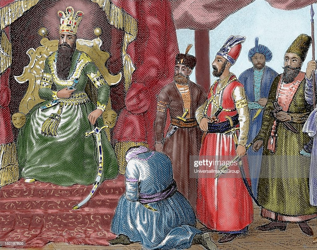 Ottoman Empire Sultan welcoming the Council members in the courtroom Topkapi Palace Istanbul Turkey Nineteenthcentury colored engraving