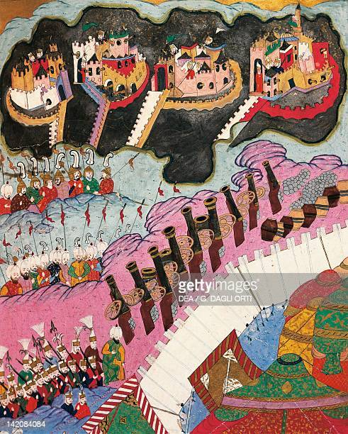 Ottoman troops attacking four Hungarian fortresses miniature from the History of Suleiman the Magnificent's Conquests in Europe Ottoman manuscript...