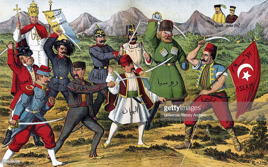 Ottoman Turkish Cartoon of 1910 Turkey taking on the European and Russian superpowers while China and japan look on