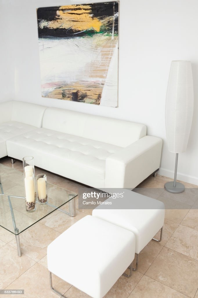 Ottomans, coffee table and sofa in modern living room