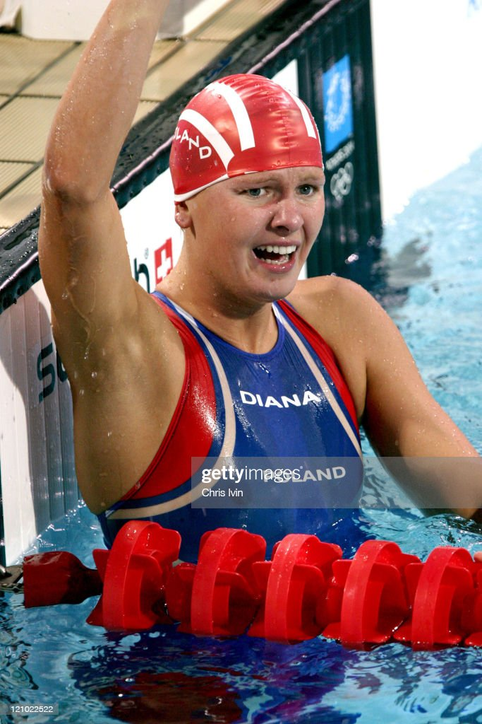 Otylia Jedrzejczak of Poland wins the Women's 200m Butterfly Final in a time of 20605 at the Olympic Aquatic Centre in Athens Greece on August 18 2004