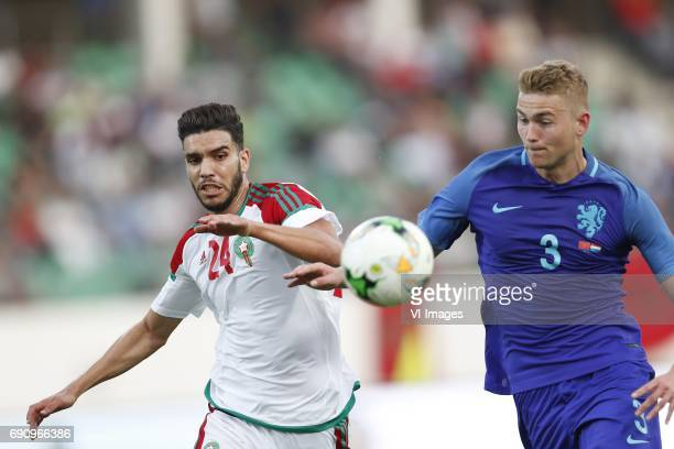 Oualid Azarou of Morocco Matthijs de Ligt of Hollandduring the friendly match between Morocco and The Netherlands at Grand Stade Adrar on May 31 2017...