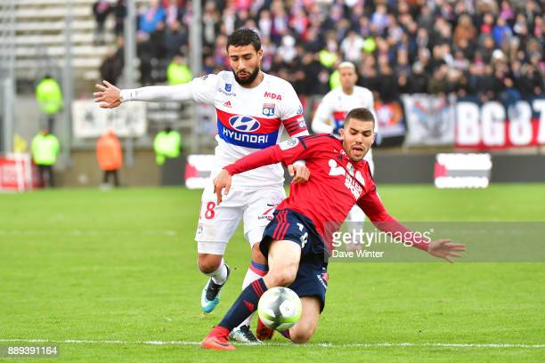 Oualid El Hajjam of Amiens and Nabil Fekir of Lyon during the Ligue 1 match between Amiens SC and Olympique Lyonnais at Stade de la Licorne on...