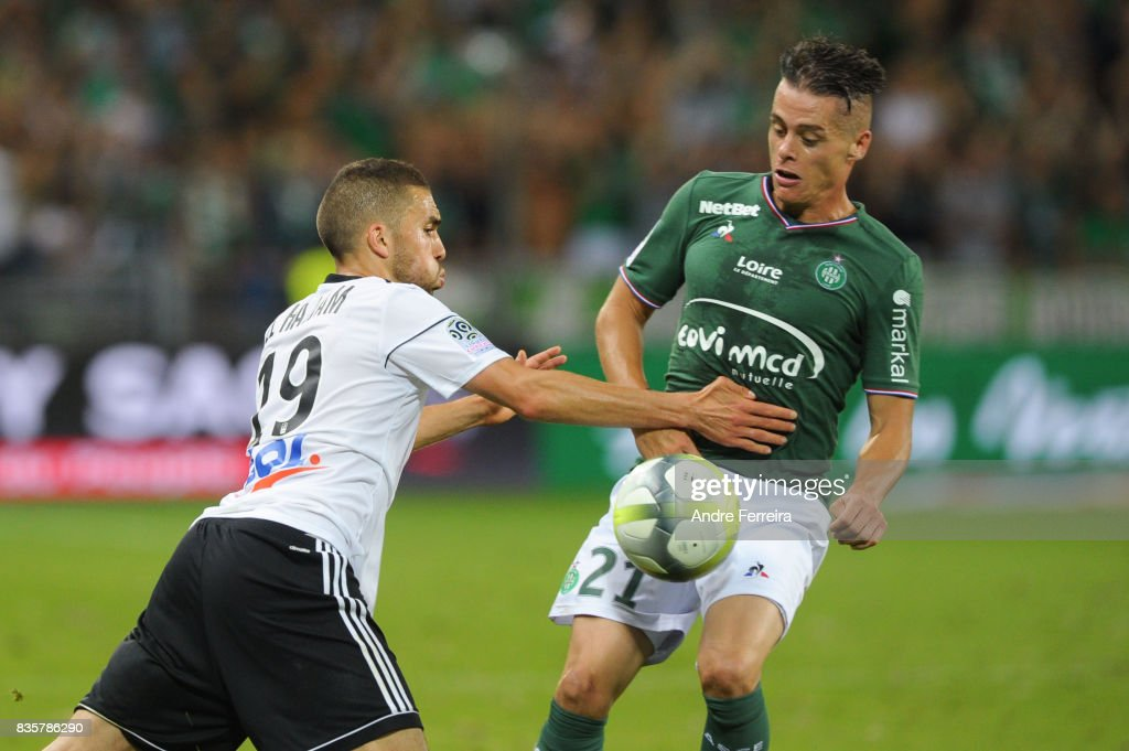 Oualid El Hajjam of Amiens and Romain Hamouma of Saint Etienne during the Ligue 1 match between AS Saint Etienne and Amiens SC at Stade Geoffroy Guichard on August 19, 2017 in Saint Etienne, France.
