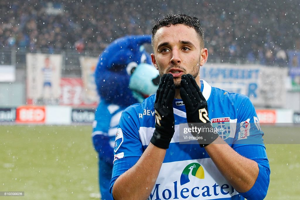 Ouasim Bouy of PEC Zwolle during the Dutch Eredivisie match between PEC Zwolle and Feyenoord Rotterdam at the IJsseldelta stadium on February 14, 2016 in Zwolle, The Netherlands