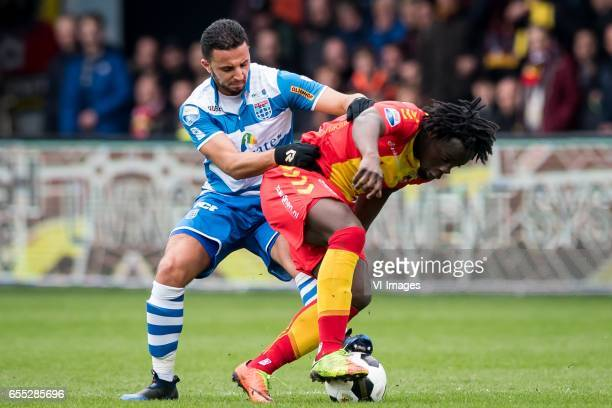 Ouasim Bouy of PEC Zwolle Elvis Manu of Go Ahead Eaglesduring the Dutch Eredivisie match between Go Ahead Eagles and PEC Zwolle at The Adelaarshorst...