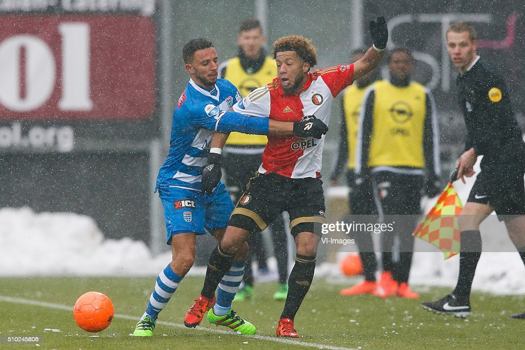 Ouasim Bouy of PEC Zwolle, Karim El Ahmadi of Feyenoord during the Dutch Eredivisie match between PEC Zwolle and Feyenoord Rotterdam at the IJsseldelta stadium on February 14, 2016 in Zwolle, The Netherlands