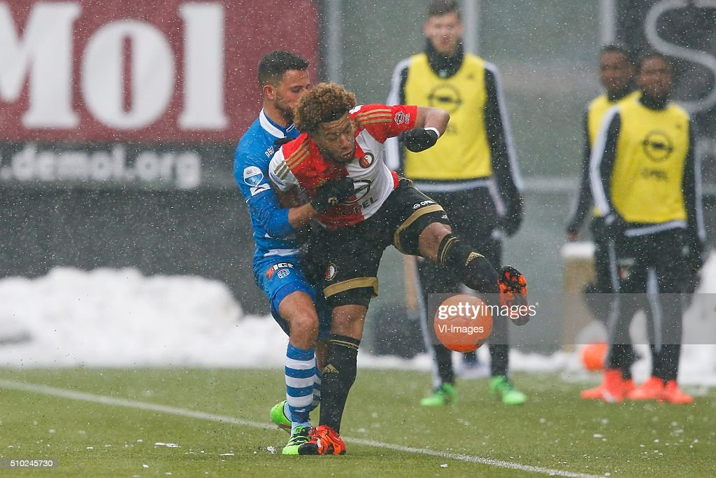 Ouasim Bouy of PEC Zwolle, Tonny Vilhena of Feyenoord during the Dutch Eredivisie match between PEC Zwolle and Feyenoord Rotterdam at the IJsseldelta stadium on February 14, 2016 in Zwolle, The Netherlands