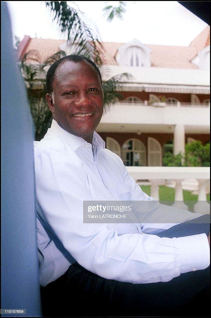 Ouattara RDR leader at home in Abidjan Cote d'Ivoire on September 21 2000