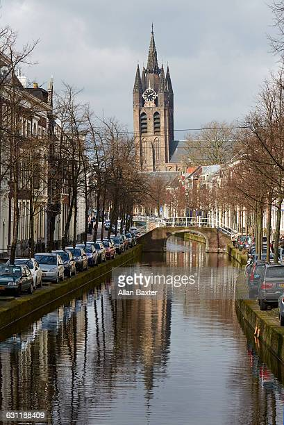 Oude Kerk in Delft along canal