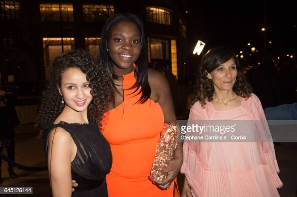 Oulaya Amamra Deborah Lukumuena and Houda Benyamina attend the Cesar's Dinner at Le Fouquet's on February 24 2017 in Paris France
