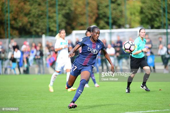 Ouleyemata Sarr of PSG during the women's French D1 league match between PSG and Olympique de Marseille at Camp des Loges on September 25 2016 in...