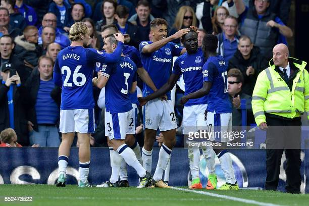 Oumar Niasse celebrates his second goal with team mates during the Premier League match between Everton and AFC Bournemouth at Goodison Park on...