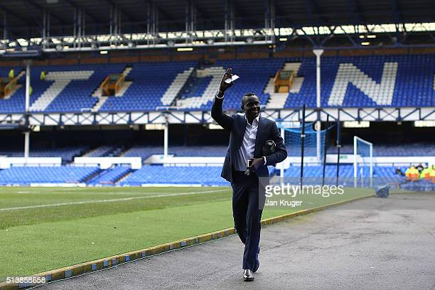 Oumar Niasse of Everton arrives ahead of the Barclays Premier League match between Everton and West Ham United at Goodison Park on March 5 2016 in...