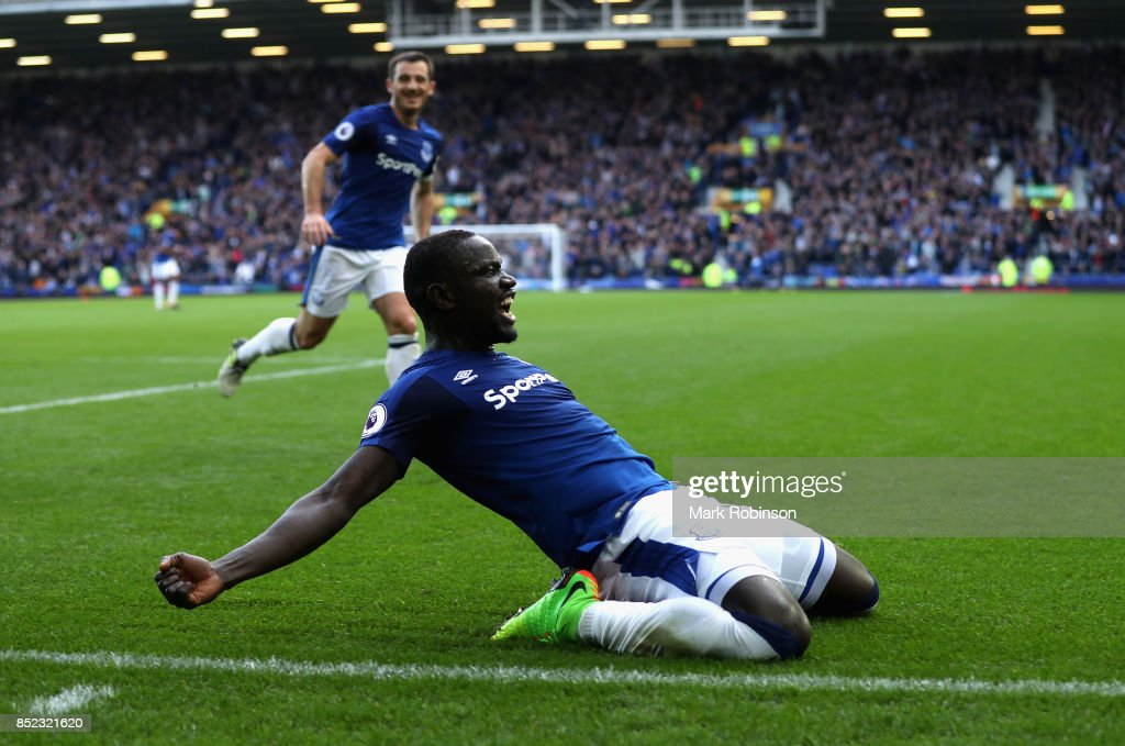 Oumar Niasse of Everton celebrates scoring his side's second goal during the Premier League match between Everton and AFC Bournemouth at Goodison Park on September 23, 2017 in Liverpool, England.