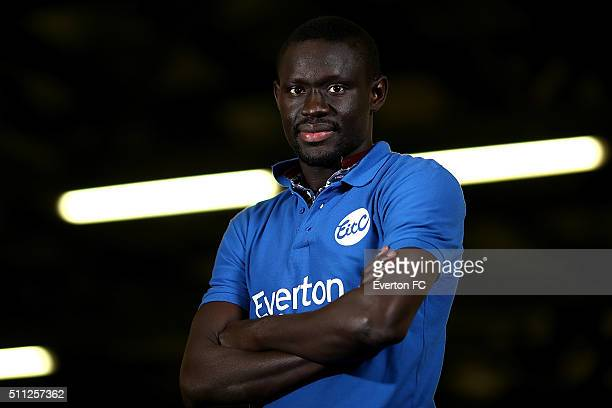 Oumar Niasse of Everton poses at Finch Farm on February 16 2016 in Halewood England