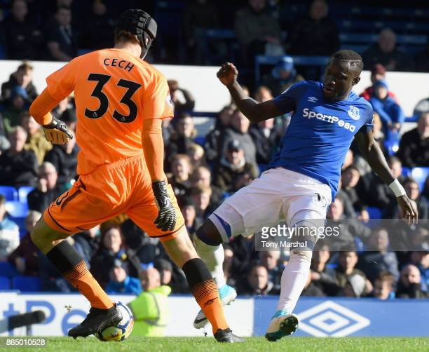 Oumar Niasse of Everton tackles Petr Cech of Arsenal and goes on to score his sides second goal during the Premier League match between Everton and...