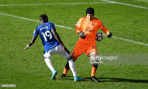 Oumar Niasse of Everton tackles Petr Cech of Arsenal to score during the Premier League match between Everton and Arsenal at Goodison Park on October...