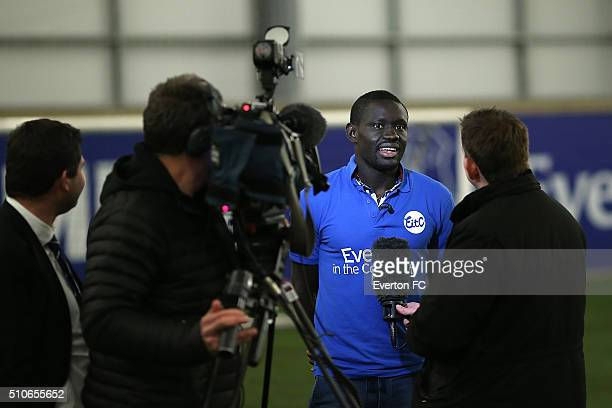 Oumar Niasse of Everton talks to the press at Finch Farm on February 16 2016 in Halewood England