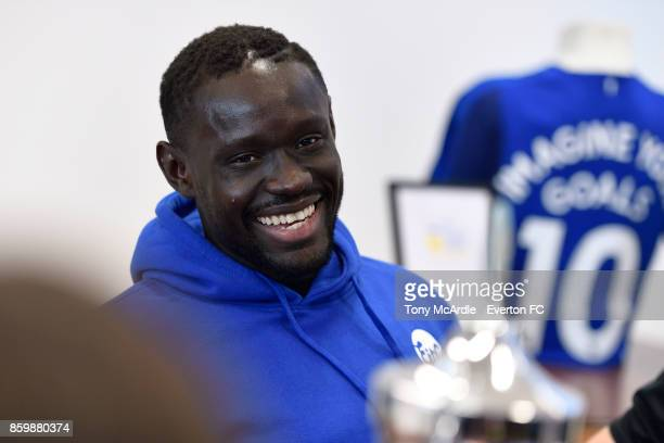Oumar Niasse of Everton visits Clock View Hospital on World Mental Health Day on October 10 2017 in Liverpool England