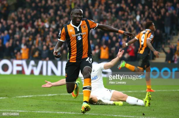 Oumar Niasse of Hull City celebrates as he scores their second goal during the Premier League match between Hull City and Swansea City at KCOM...