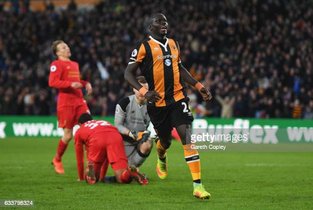 Oumar Niasse of Hull City celebrates scoring his sides second goal during the Premier League match between Hull City and Liverpool at KCOM Stadium on...