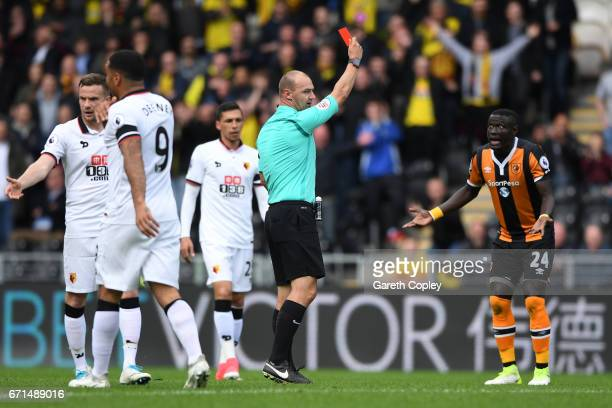 Oumar Niasse of Hull City is shown a red card during the Premier League match between Hull City and Watford at the KCOM Stadium on April 22 2017 in...