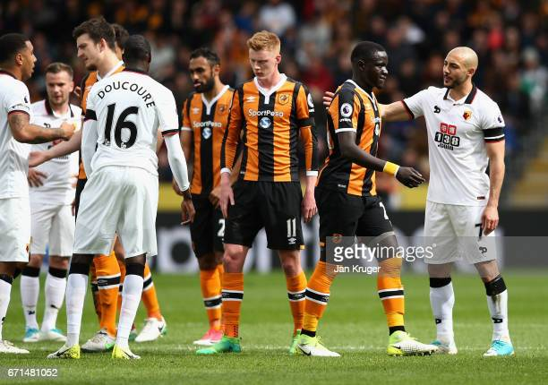 Oumar Niasse of Hull City leaves the pitch after being shown a red card during the Premier League match between Hull City and Watford at the KCOM...