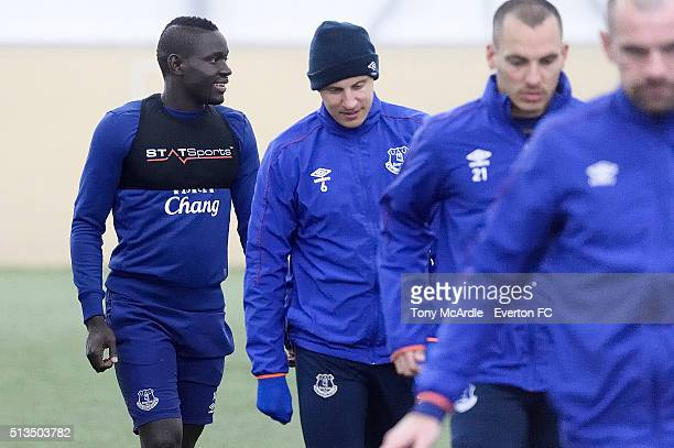 Oumar Niasse Phil Jagielka Leon Osman and Darron Gibson during the Everton training session at Finch Farm on March 03 2016 in Halewood England
